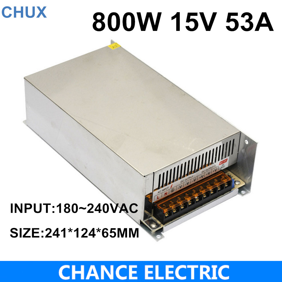High power switching power supply 800W 15V 53A switching power supply AC to DC for LED strip ligth(S-800-15) industrial and led used 800w 15v 53a switching power supply ac dc power supply input 110v or 220v power supply unit adapter 15v