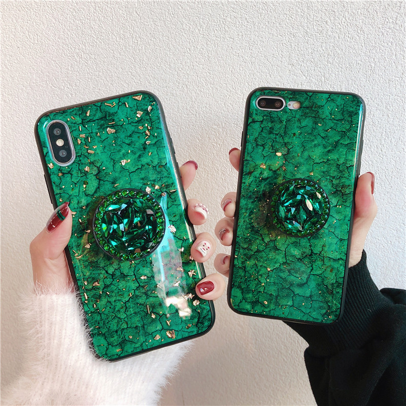 Glitter marble diamond ring holder silicone phone case for iphone 7 8 6 S plus X XR XS 11 Pro MAX for samsung S8 S9 S10 Note 8 9 2