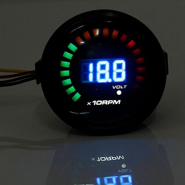 2016 Brand New Universal Preto 2 Polegada 52 MM Tacômetro Carro LED Digital Luz Fumado Tacho Medidor Medidor de RPM
