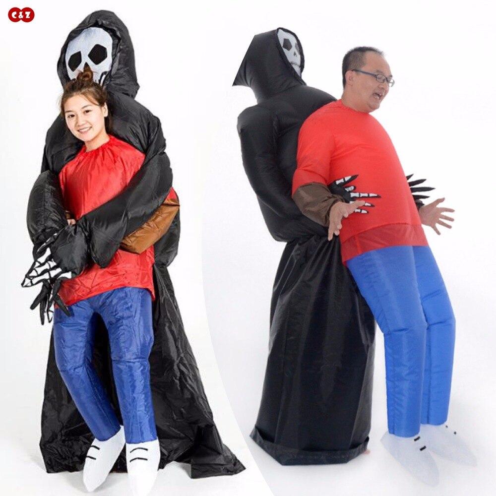 Drôle fantôme câlin/selle cheval air poupée costume vêtements PVC gonflable mascotte cosplay fête jouet événement club icône unisexe
