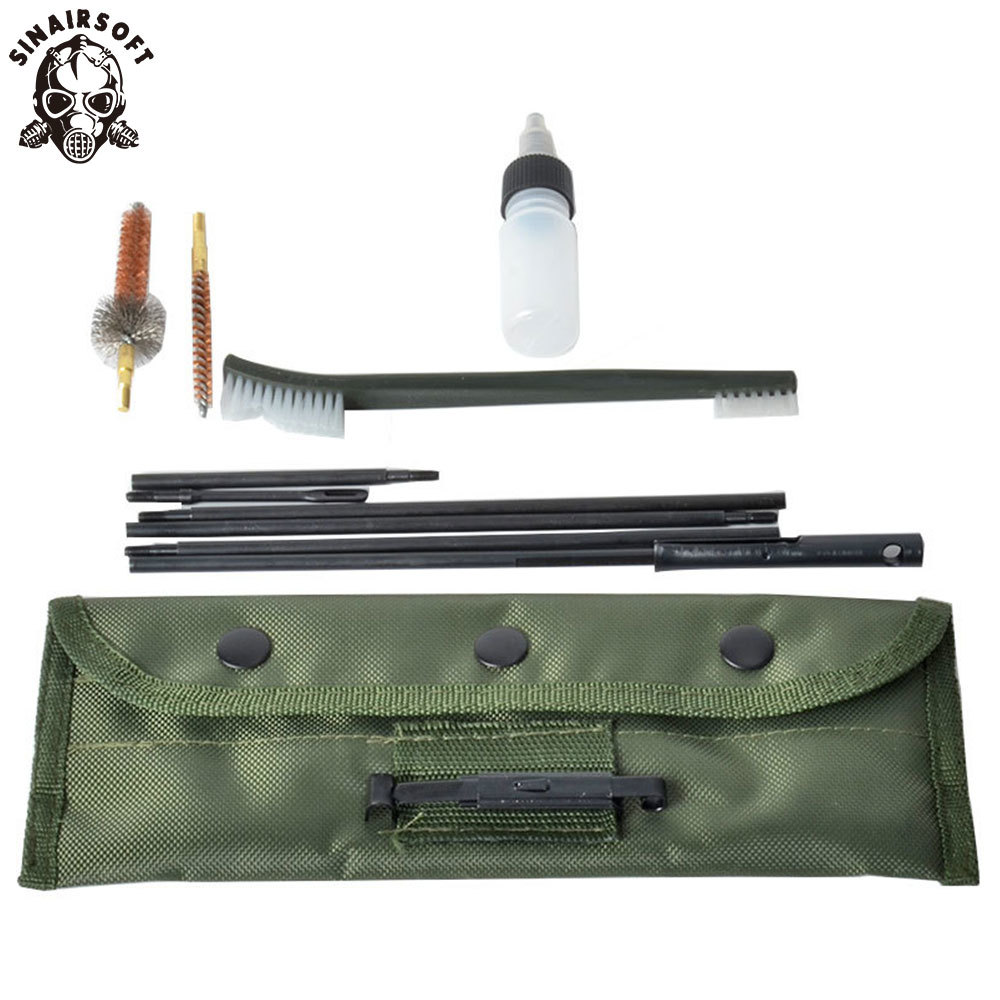 SINAIRSOFT Paintball Hunting Airsoft AR 15 AK 5.56mm M16 Portable Carbine Rifle Cleaning Kit With Flexible Rod Brushes Pouch