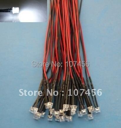 Ücretsiz kargo 100 adet düz üst beyaz LED lamba ışığı Set ön kablolu 5mm 12V DC kablolu