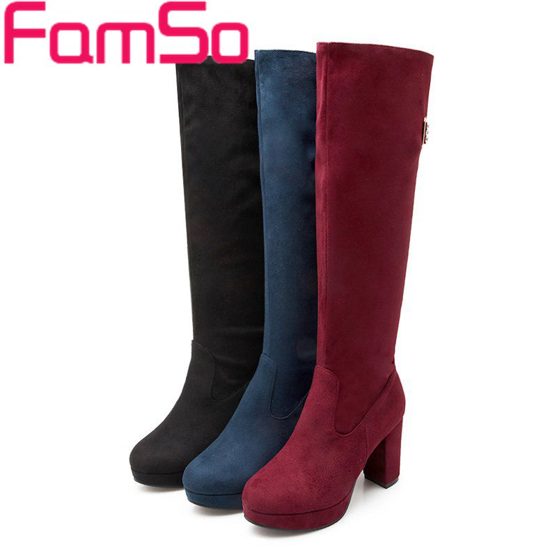 Plus Size34 43 2015 new Sexy font b Women b font Boots high heels Knee High