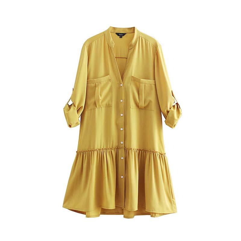 6f55988753d64 Vadim women yellow mini dress long sleeve casual vestido