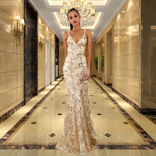 57c68c7edc7c Sequins Bridesmaid Dress Long Net yarn Mermaid Wedding Party Gowns Women  Deep V-neck backless Halter banquet Dresses