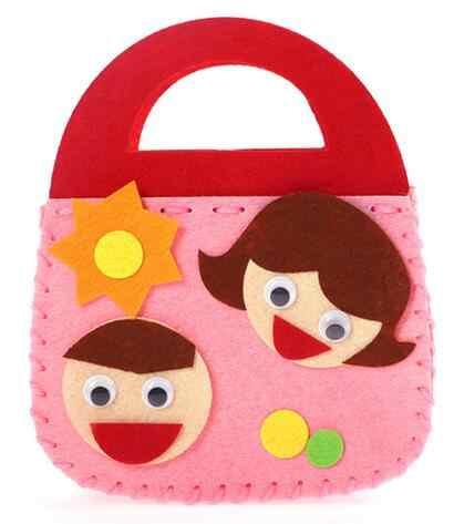 Montessori Brinquedos DIY Criatividade Desenvolvimento Aprendizagem Educação Handmade Dos Desenhos Animados Tecido Saco de Mão Arte Artesanato Brinquedos Para Presente Das Crianças