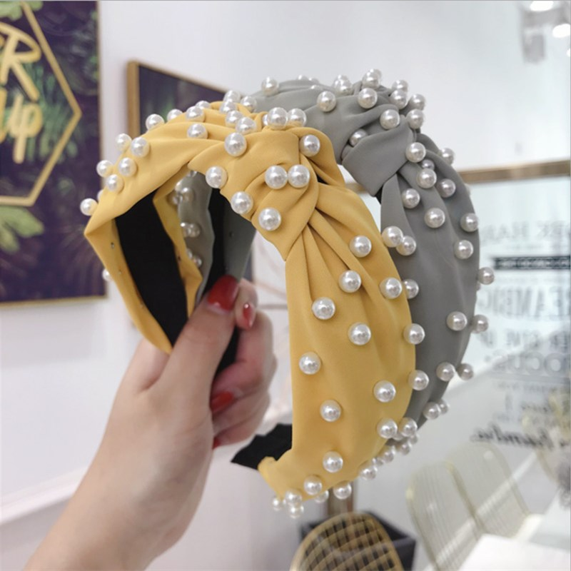New Fashion hair accessories women's fabric solid color beaded beads full of knots wide-brimmed headband headband girl hair band