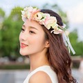 1PC Hot Hair Hoop Korean Style Bridal Wreath Rose Garland Bride Bridesmaid Flower Photo Ornaments 4 Colors 1471E
