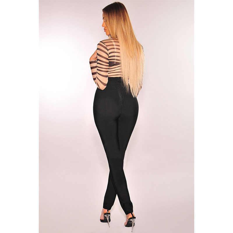 SEBOWEL сексуальный телесный черный чистый сетчатый боди с длинными рукавами Женская Новинка 2019 топ одежда для женщин прозрачный полосатый комбинезон