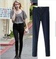 2015 Marca de moda de nova estilo Europeu tudo combinado magro alta mulher jeans cintura elástica sexy slim hip calças lápis das mulheres calças de brim