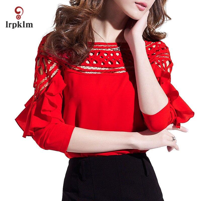 Grande taille 3XL 2017 nouveau printemps automne femmes à manches longues rouge blanc noir en mousseline de soie Blouse creuse chemise Crochet hauts YY758