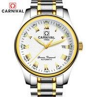 Карнавал Лидирующий бренд Роскошные часы для мужчин Автоматический деловые Тритий световой нержавеющая сталь водонепроница