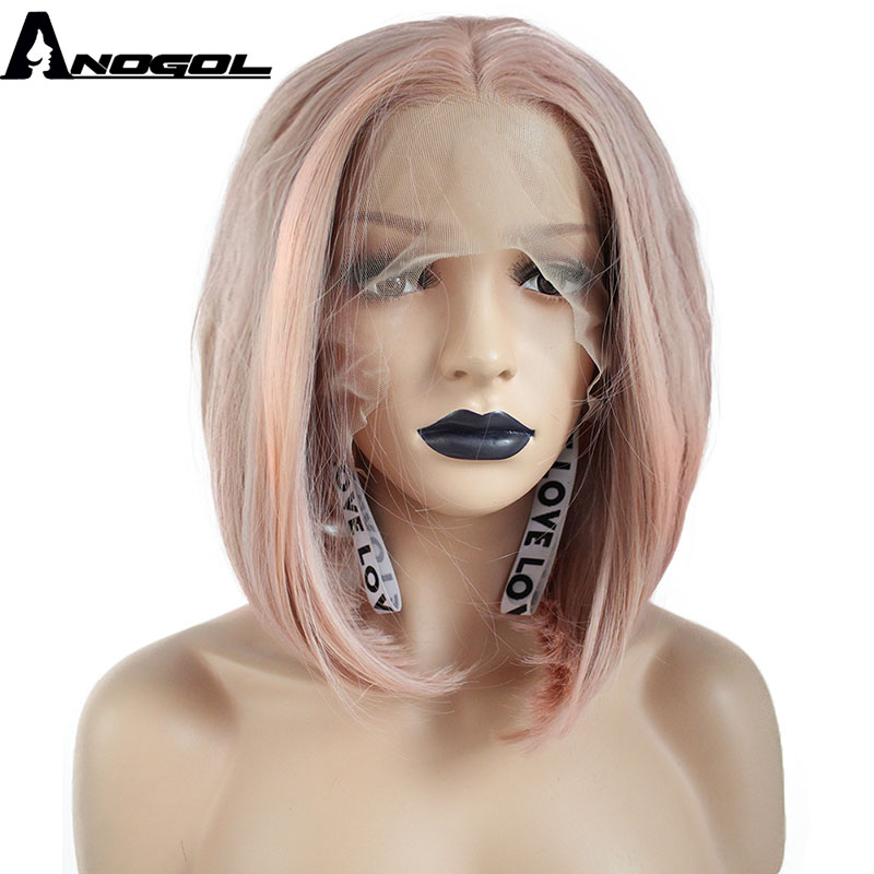 Anogol Short Natural Straight Bob Pink Middle Part Hand Tied High Temperature Fiber Synthetic Lace Front Wig For Women