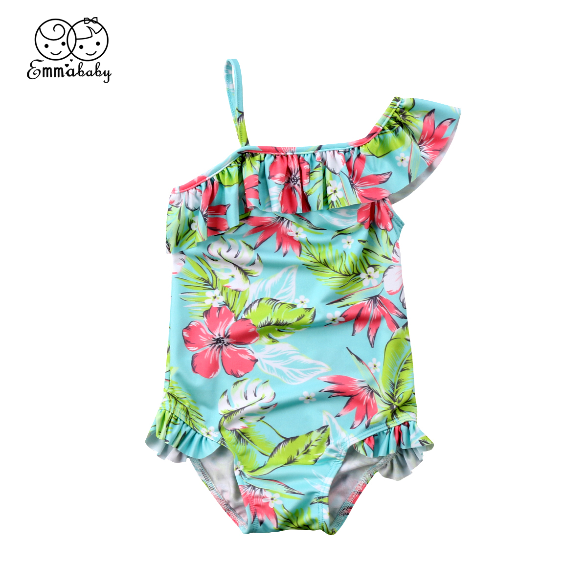 19558843eb 2018 summer Toddler Kid Baby Girl Floral printed one shoulder ruffles one-piece  Bikini Swimwear