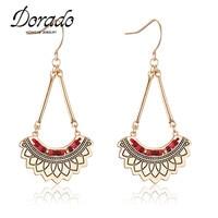 Dorado Boho Woman Indian Africa Beads Big Print Flower Drop Earring Semicircle Long Dangle Tassels Earings