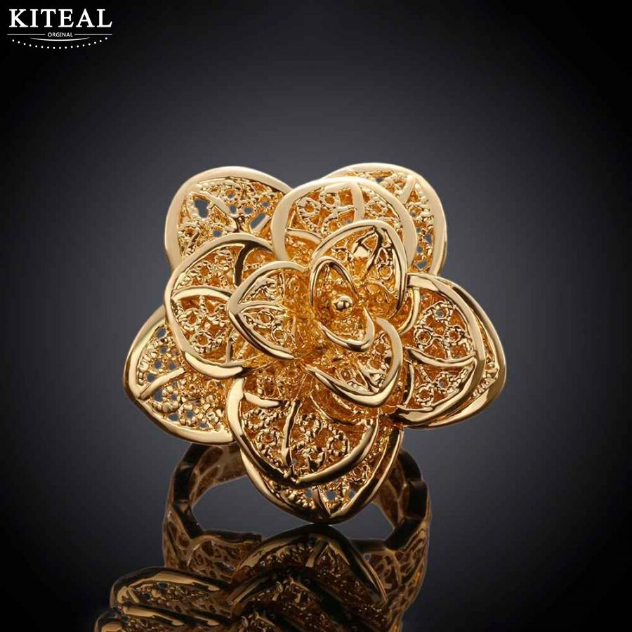 Women\'s luxurious rose Gold silver Plated Flower Big Rings Girls ...
