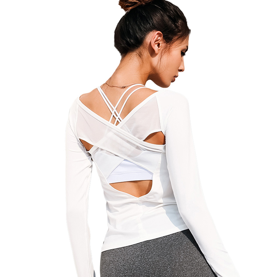 Women Open Back Yoga Top Shirts White Mesh Cross Back Sport Shirt Long Sleeve Backless Yoga Fitness Workout Gym Running T Shirts in Yoga Shirts from Sports Entertainment
