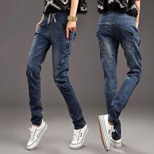 2017 New Spring autumn Women Jeans Elastic waist Harem jean Pants informal stretch Denim Trousers s335