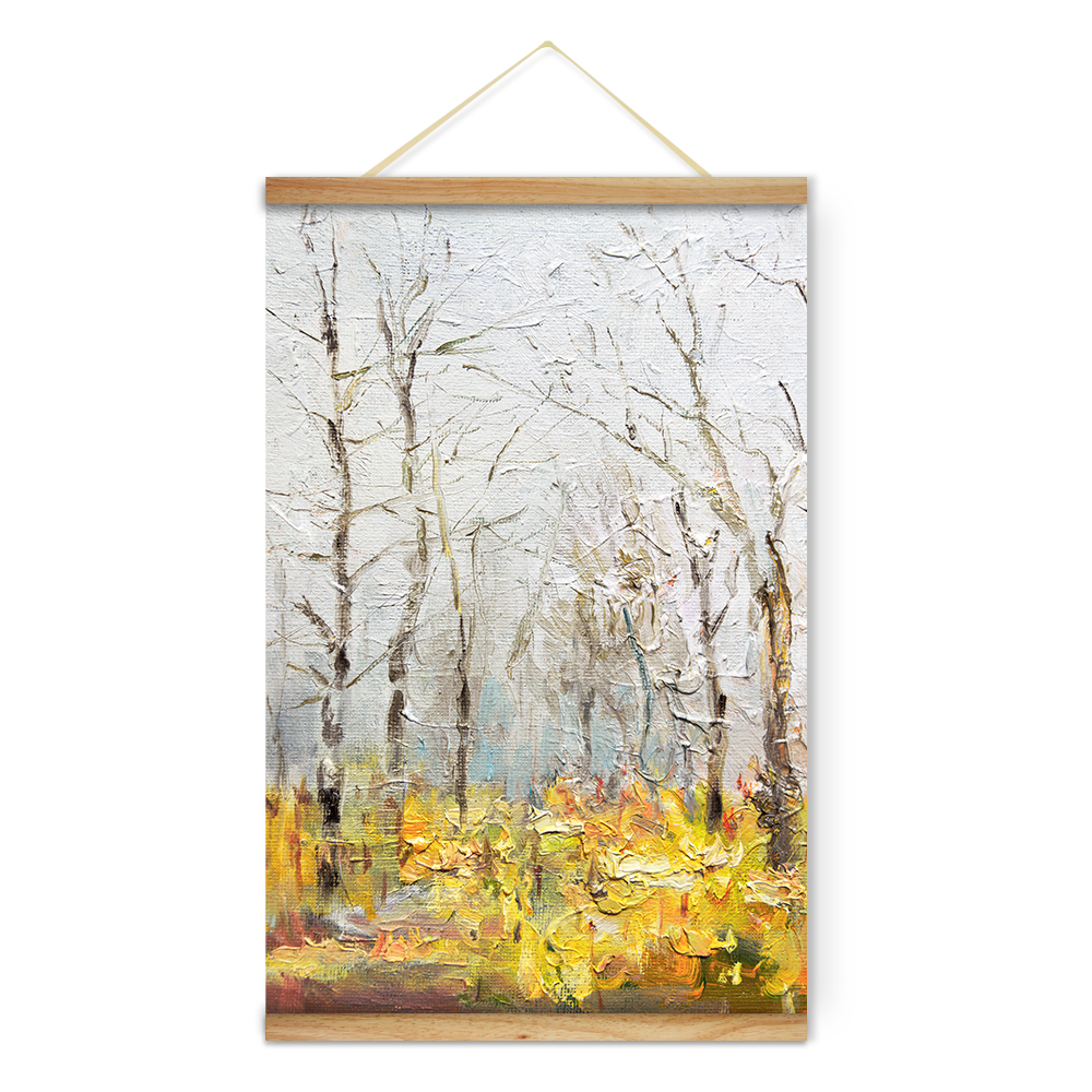 Wooden Scroll Wall Art Fall Landscape Yellow Forest Decoration Wall Art Pictures Canvas