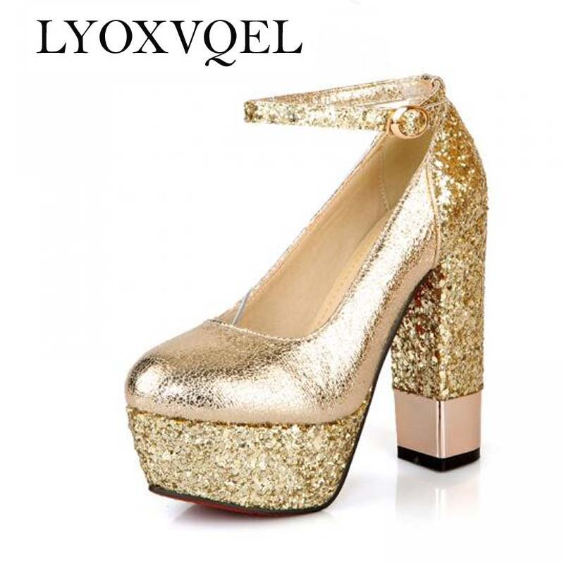 Aliexpress Buy Fashion High Heeled Shoes Thick Heel Platform Champagne Color Wedding Shoes