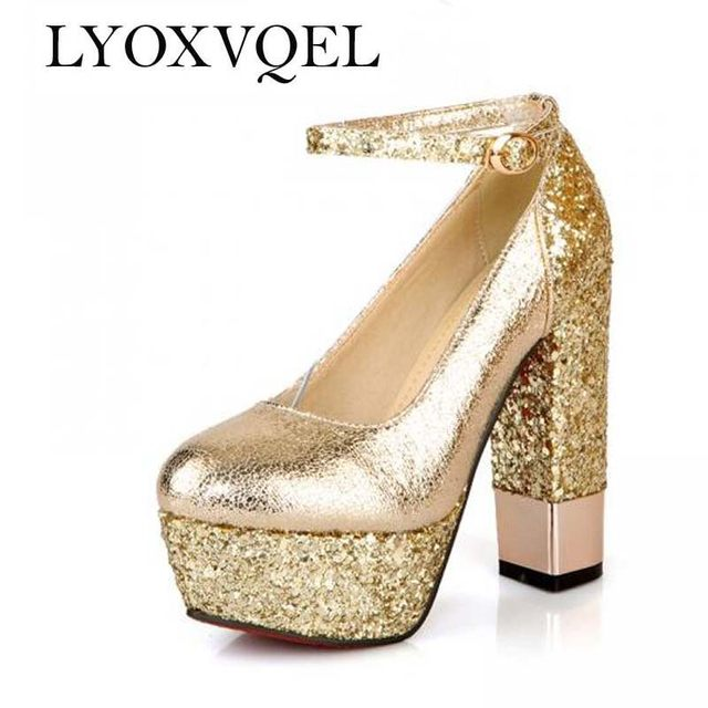 Fashion High Heeled Shoes Thick Heel Platform Champagne Color Wedding Shoes  Bridal Shoes Gold Formal Shoes Size 34 39 S1180