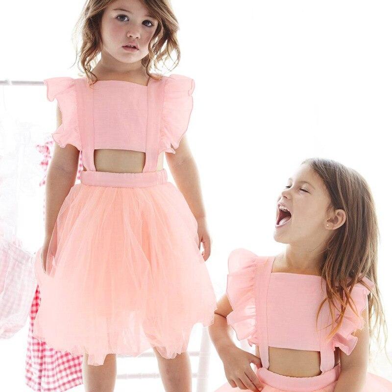 Ins/Лидер продаж 2018 Кружевное платье-пачка для маленьких девочек принцессы для девочек Плиссированное Платье для малышей платье партии Детс...