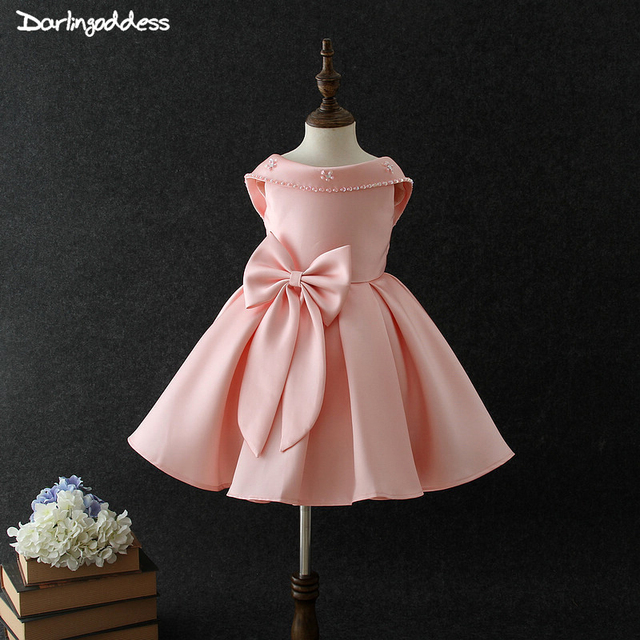 Satin Flower Girl Dresses for Weddings Beaded Bow Kids Birthday Formal Party Dress Pageant Prom Gown First Communion Dress