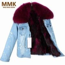 Maomaokong 2017 Для женщин зимнее пальто большой енота Мех Куртка с воротником джинсовые натуральным лисьим на меху Брендовая верхняя одежда Стиль Мужские парки
