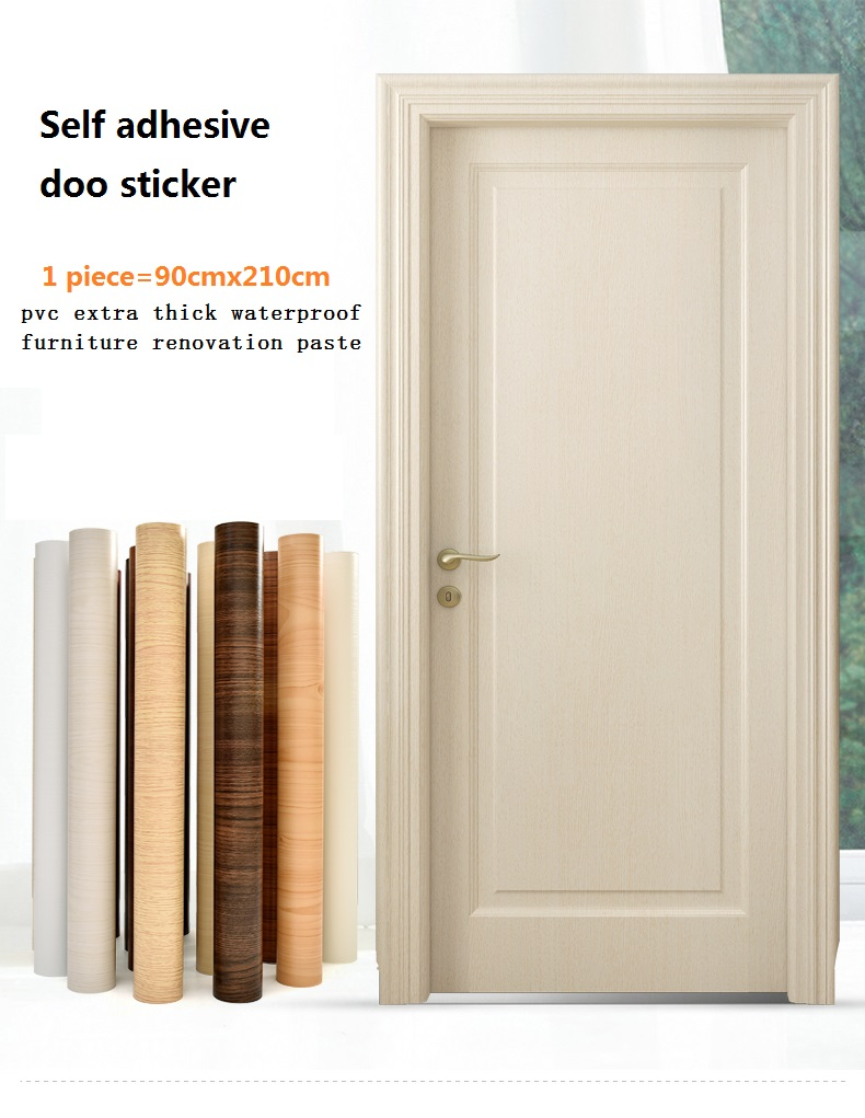 90cm Width Wood Texture Door Sticker Peel And Stick Self Adehesive PVC Contact Paper Waterproof Furniture Paste