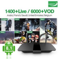 Арабский Франции IPTV Box Smart Android 8,1 QHDTV учетной записи подписки irtv Европейский, французский Бельгии ip-телевидение с арабскими каналами Декодер