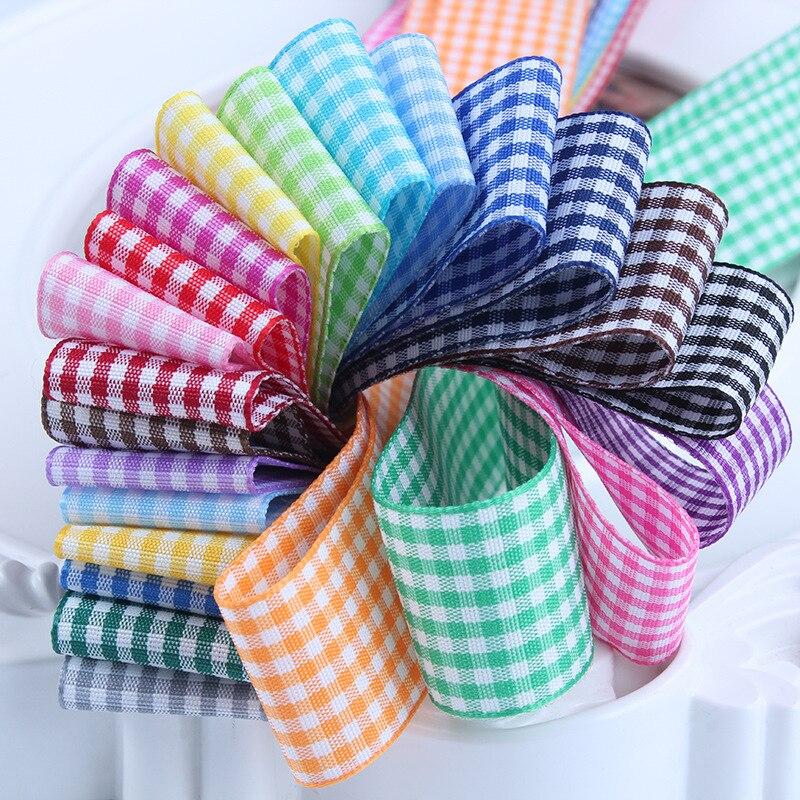 25 мм решетки ленты в шотландскую клетку лук лента для заворачивания подарка полиэстер лента ручной работы Свадебная вечеринка Рождество DIY интимные аксессуары 5 ярдов