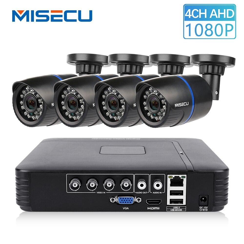 MISECU CCTV 4CH 720 P/1080 P AHD Kit de caméra P2P HDMI H. 264 DVR système de Surveillance vidéo étanche Kit de caméra de sécurité extérieure