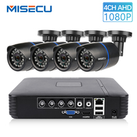 MISECU CCTV 4CH 720P/1080P AHD Camera Kit P2P HDMI H. 264 DVR Video Surveillance System Waterproof Outdoor Security Camera Kit