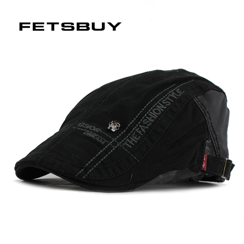 1ec664795fa ברטים - FETSBUY Skeleton Beret Vintage Boinas Flat Cap for Men and Women  Fitted Driving Sun Flat Cabbie Gorras Planas Newsboy Hat Visors