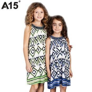 A15 Kids Dress for Girl 2017 Summer Girl Beach Tunic Dress Infant Printed Dress Teenage Princess Design Dress 8 10 12 14 16 Year