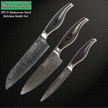 SUNNECKO 3PCS Kitchen Knife Set Damascus VG10 Steel Sharp Cooking Chef Santoku Utility Pakka Wood Handle Cutter Tool