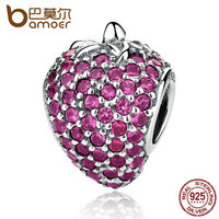 BAMOER Authentic 925 Sterling Silver Pave Strawberry Red CZ Charms Fit Women DIY Bracelets Bangles Accessories
