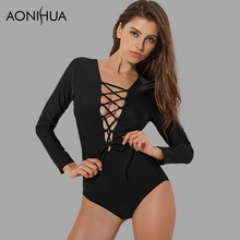 AONIHUA 2018 Sexy Bandage High Cut One Piece Swimsuit Women Lace up out Black Push Long sleeve Swimwear Bathing Suit 2062