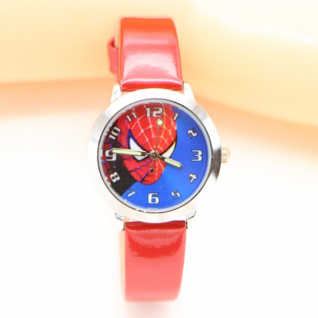 Dropshipping Fashion Leather Quartz Spiderman kids cartoon WristWatch clock stud