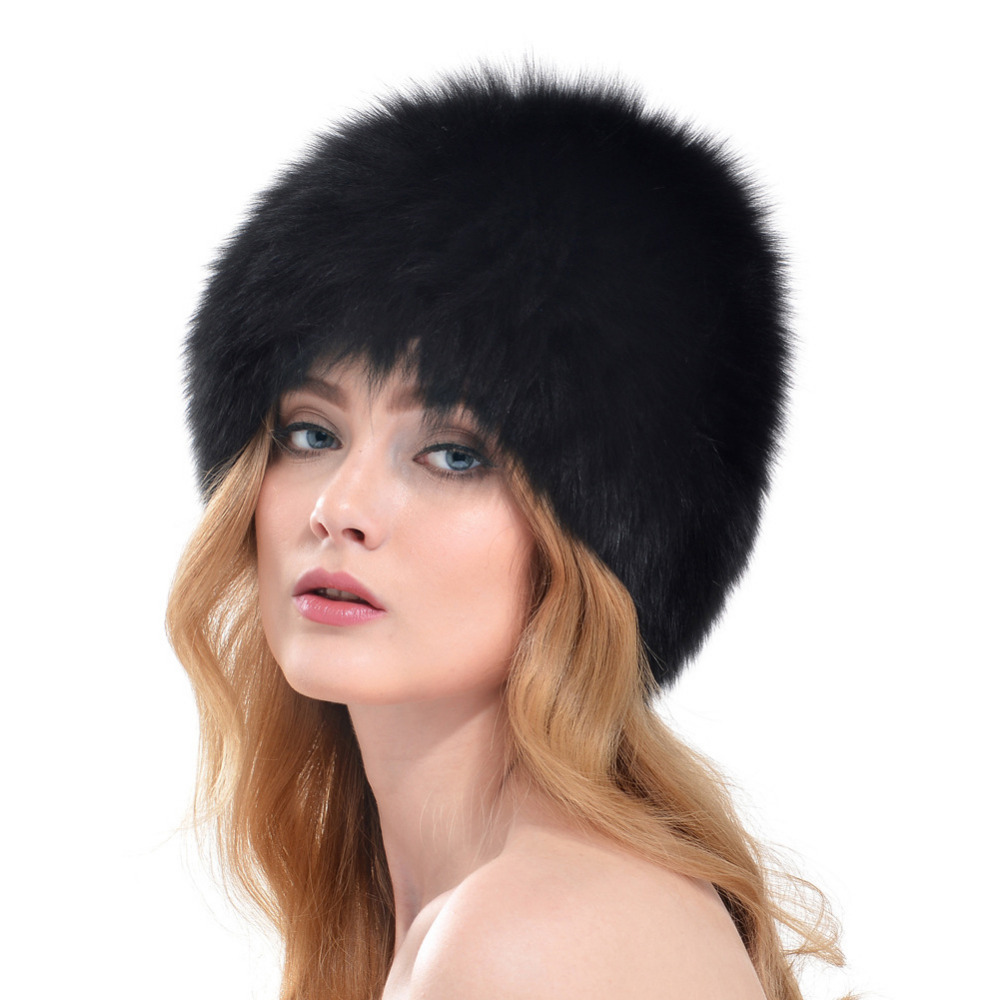 100% Real Fox Fur Soft Hat for Women Winter Knitted Beanies Cap Thick Super Elastic Female Warmer Wrap Accessories
