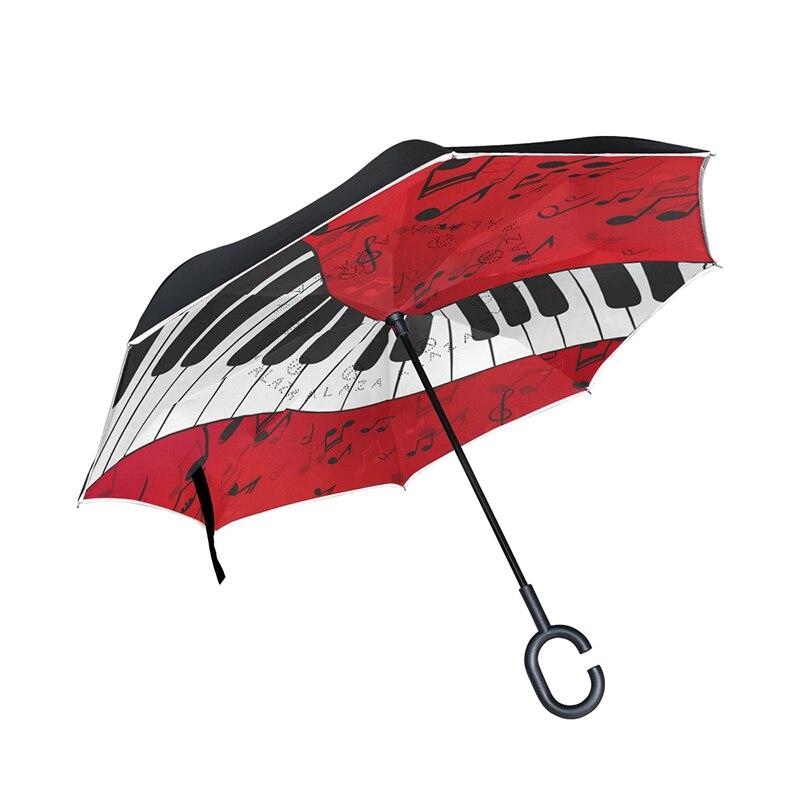 Piano musique motif inversé parapluie Double couche soleil Parasol femmes pluie inverse parapluies mâle coupe-vent parapluie