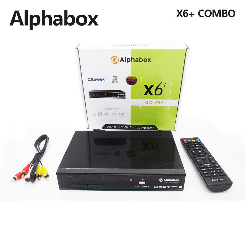 Alphabox X6 + Combo DVB-S2/T2/C Receptor de Satélite TV Suporte Cccam Newcamd Mgcamd Powervu Chave TV Turner USB Wi-fi Set Top Box
