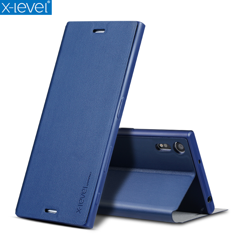 online store 681a7 32da6 X-Level Book Leather Flip Cases For Sony Xperia XZ F8331 Dual F8332 Ultra  Thin Business Leather Funda Cover Case