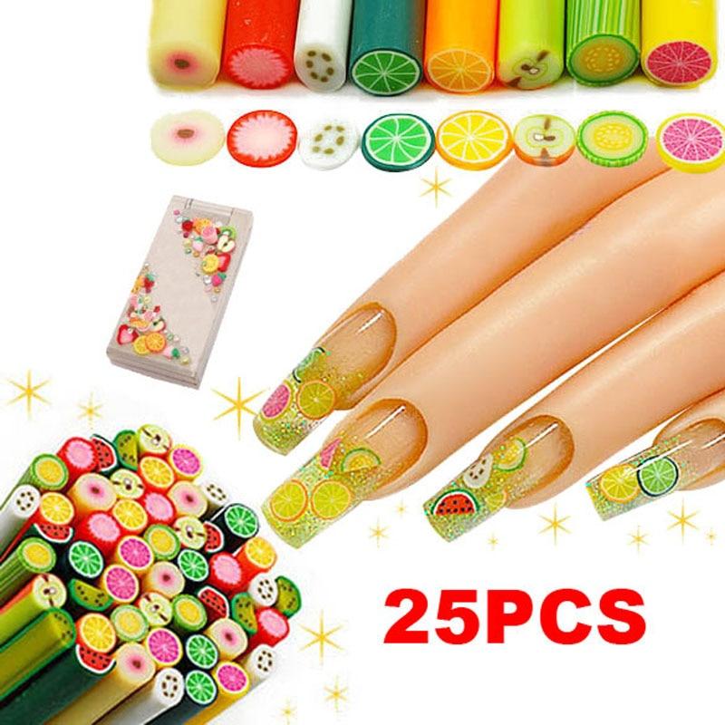 2018 25Pcs New Hot Shining Polymer Clay Nail Art Fimo Fruit Decoration Slice Rod Sticks DIY Nails Accessories