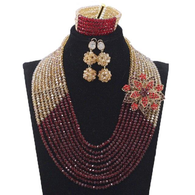 Derniers nouveaux invités de mariage perles africaines ensembles de bijoux Engagement Dubai or collier ensemble chaud livraison gratuite HX233