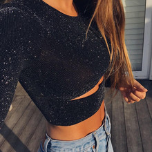 2020 Summer T-Shirts Women Solid Fashion Regular Sexy Bodycon Long Sleeve O-Neck Hollow Out Women Short T-shirt Tees Blusas Tops