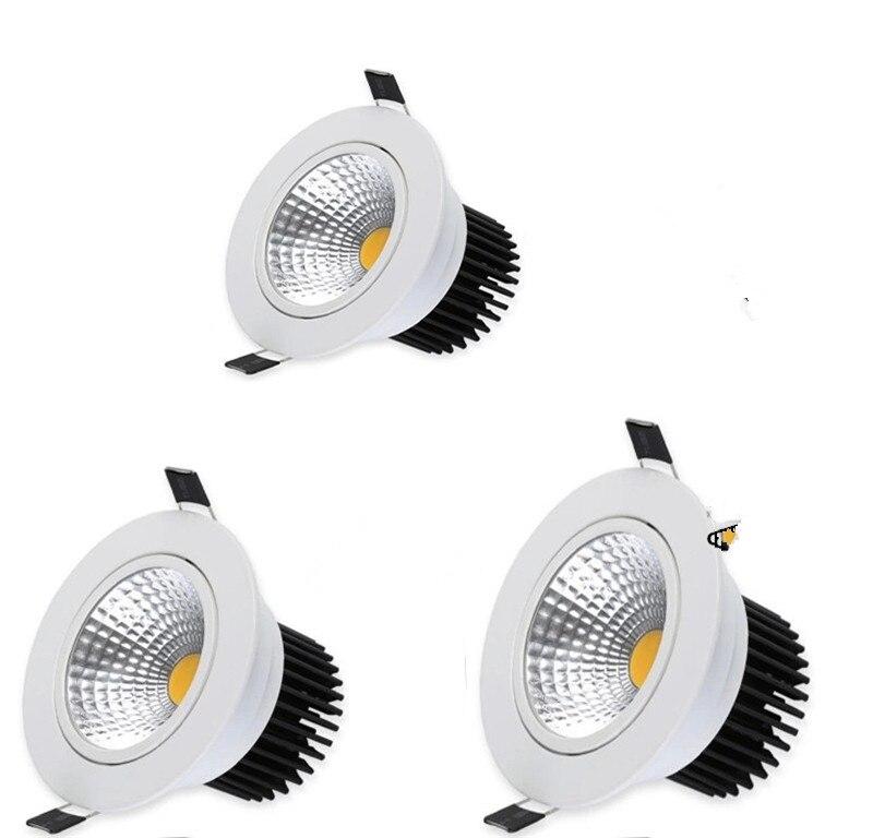 10pcs Dimmable LED COB Downlight AC110V 220V 5W 7W 10W 12W Recessed LED Spot Light lumination