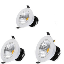 10 шт. cob-светодиоды с регулируемой яркостью, светильник AC110V 220V 5 W/7 W/10 W/12 W, Встраиваемый светодиодный светильник для точечного освещения, декоративная потолочная лампа для помещений