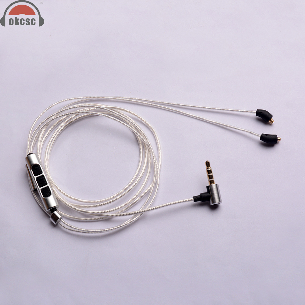 OKCSC For Beyerdynamic XELENTO MMCX Connector Aftermarket Cable 3 5 With Mic OCC Single Crystal Silver