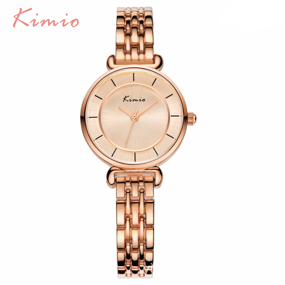 KIMIO Simple Small Double Dial Gold Bracelet Quartz Watches Women Fashion Watch 2017 Brand Ladies Watch Wristwatch montre femme kimio brand bracelet watches women reloj mujer luxury rose gold business casual ladies digital dial clock quartz wristwatch hot